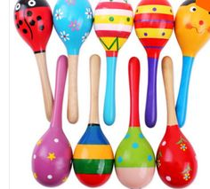 Wooden Maraca Rattles Musical Party Favor Kids Baby Shaker Toy Xmas Gift H