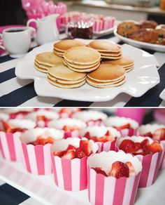 Preppy Pancake & Pajama Party with bacon & egg treats, fruit loop pops, pajama frosted sugar cookies & pink ruffle + chevron birthday cake!