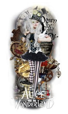 """Steampunk Hatter"" by msriahriah ❤ liked on Polyvore featuring art"