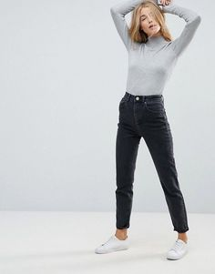 DESIGN Farleigh Slim high waist jeans in bleached black Outfit Jeans, Black Mom Jeans Outfit, Jean Jacket Outfits, Black Jeans, Dark Grey Jeans, Black High Waisted Jeans Outfit, Light Jeans Outfit, Black Boyfriend Jeans, Ripped Jeggings