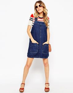 Image 4 of ASOS Denim Pinny Dress With Patch Pockets In Indigo
