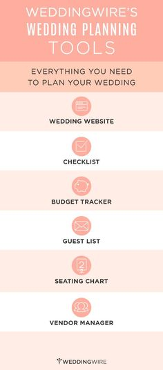 free planning tools! wedding wire, wedding website, checklist, budget tracker, guest list, seating chart, vendor manager