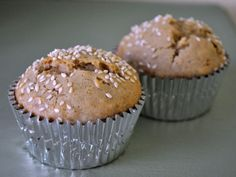 Tahini Muffins with Figs   1 1/4 cups all-purpose flour 3/4 cup old fashioned oats 2 teaspoons baking powder 2/3 cup tahini 3/4 cup milk 1 egg 3/4 cup dark brown sugar Sesame seeds