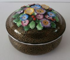 ART DECO TUSCAN CHINA TRINKET BOX - FLOWERS IN RELIEF TO BLACK / GOLD GROUND in Pottery, Porcelain & Glass, Porcelain/ China, Tuscan | eBay
