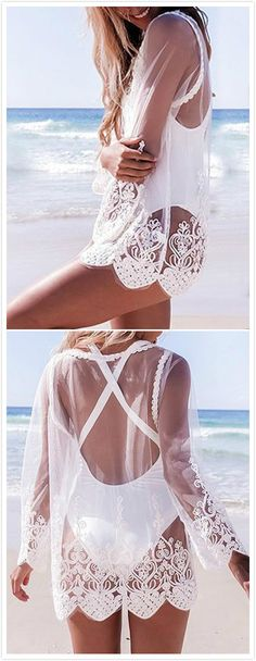 White Round Neck Long Sleeves See-through Lace Blouses