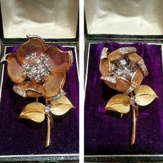 #BEFORE and #AFTER  #1950s #brooch #flower #mobile #design #exquisite piece of crafsmanship #justfound  #jewellery #antiquejewellery #legioiedifunaro #gioielleria #spilla floreale #gioielloantico #anni50