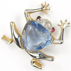 Mazer Gold Pave and Hexagon Cut Aquamarine Frog Pin