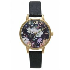 Olivia Burton Flower Show Watch - Black & Gold (€94) ❤ liked on Polyvore featuring jewelry, watches, flower jewelry, black gold jewelry, yellow gold watches, yellow gold jewelry and floral jewelry