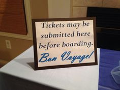 Decorative registration table cruise/ship themed party!