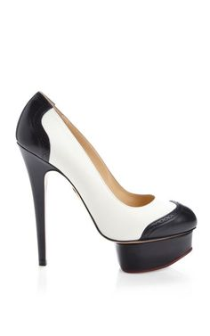 Black And White Spectator Dolly Pump by Charlotte Olympia Now Available on Moda Operandi
