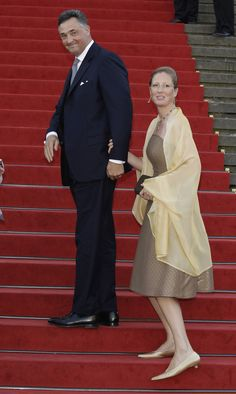 Archduke Martin von Oesterreich Este and Princess Katharina of Isenburg arrive for a charity concert at the Gendarmenmarkt concert hall on August 26, 2011 in Berlin, Germany. The religious wedding of Georg Friedrich Ferdinand Prince of Prussia to Princess Sophie of Prussia will take place at the Friedenskirche Potsdam at Sanssouci Park on August 27.