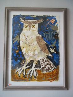 """""""Night Owl 2"""" by Mark Hearld (collage)"""