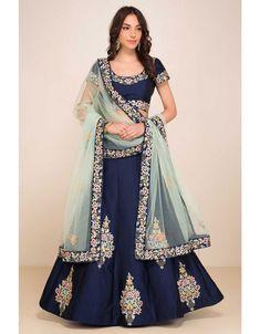 Buy Charming Navy Blue Designer Embroidered Taffeta Silk Lehenga Choli at Rs. Get Lehenga for womens at Ethnic Factory. Indian Lehenga, Silk Lehenga, Anarkali, Lehenga Skirt, Sari, Silk Dupatta, Lehenga Choli Designs, Lehga Choli, Party Wear Lehenga