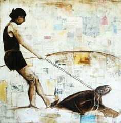Original Mixed Media Oil Painting with Collage-Girl Riding on a turtle-alternate modes of transportation