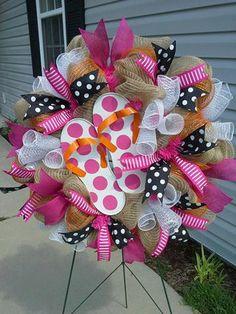Polka Dot Flip Flop wreath on Etsy, $60.00