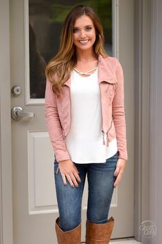 Open Road Suede Moto Jacket - Dusty Rose