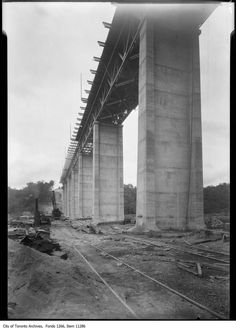Construction of the Leaside Bridge, where Millwood Rd. crosses over the Don River, August - Courtesy of the City of Toronto Archives, Fonds Item Canadian Things, Toronto Ontario Canada, Old Train Station, Physical Geography, Canadian History, Downtown Toronto, The Far Side, Historical Architecture, Landscape Photos