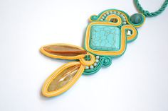 YELLOW SUBMARINE  soutache pendant by KristineJewelry on Etsy