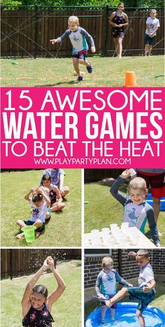 Field Day Games For Kids Discover 15 Best Water Games for Kids and Adults - Play Party Plan The most fun water games ever! Water balloon games water slide games and even water bottle flip games! Tons of great water games for kids and for adults! Water Balloon Games, Outdoor Water Games, Water Games For Kids, Games For Toddlers, Games For Teens, Kids Party Games, Summer Activities For Kids, Fun Games, Slide Games