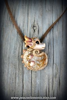 Fantasy pendant dragon necklace hand sculpture Citrine crystal gemstone magical mystic creature faerie fairy tails earthy polymer clay fimo_$73.55