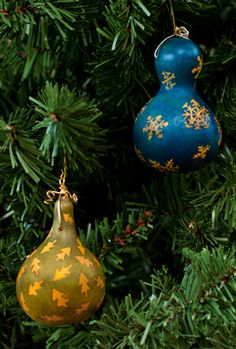 Cute Gourd Ornaments created with Ink Dyes and Liquid Mask