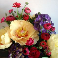 Ranunculus with poppies and hydrangea and peony.  Gorgeous!