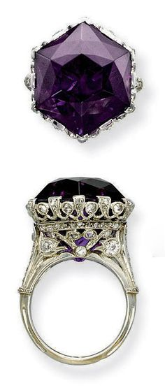A BELLE EPOQUE AMETHYST AND DIAMOND RING, Set with an hexagonal amethyst to the openwork millegrain diamond-set gallery and half-hoop, circa 1915, ring size 7, with French assay marks for platinum and gold