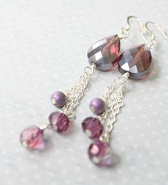 Long Amethyst & Silver Earrings  Staggered Silver by BBeadazzled on Etsy