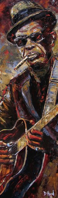 "Figurative Artists International: Colorful Jazz Art Music Art Painting ""Lightnin' Hopkins"" by Texas Artist Debra Hurd"