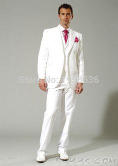 2016 de la llegada de ajuste Fit esmoquin 3 piezas de traje Color blanco hombres Suits boda del padrino de boda nupcial del novio ( pantalón + chaqueta + Vest ) en Trajes de Moda y Complementos Hombre en AliExpress.com   Alibaba Group