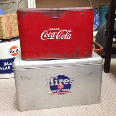 Found these Antique / Vintage Soda Pop Coolers today ! ..... Love these ! ..... Download the FLEATIQUE APP on the Apple App Store for IPhone 5 -- IPhone 5S -- IPhone 5C -- coca cola cocacola vintage antiques rootbeer root beer hires American pickers antiques roadshow junkin junk gypsy gypsies mall store shop decor style home bottle bottles Retro Vintage, Vintage Items, Vintage Antiques, Vintage Cooler, Coolest Cooler, American Pickers, Garage, Root Beer, Fun Drinks