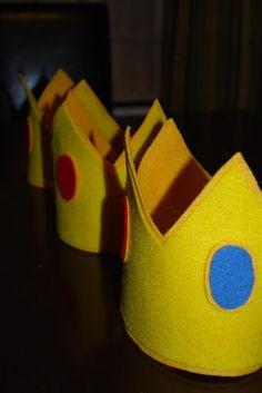 craftyc0rn3r: Super Mario Birthday Party - Princess Peach Felt Crowns