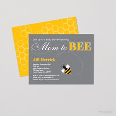 Mom To Bee Flat Invitations And Announcements | Vistaprint