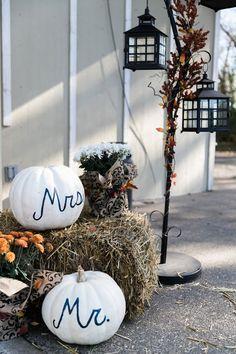 fall pumpkin mr and mrs decor for autumn barn wedding close to Salem Oregon