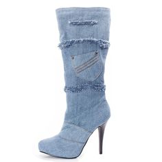 AIWEIYi Womens Denim Stilettos High Heel Knee High Boots Thigh High Boots ** Read more reviews of the product by visiting the link on the image.