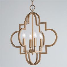"""Contempo Arabesque Chandelier - Small Moroccan architectural details inspire the styling of the Contempo Arabesque Collection. Clean and simple in trending Aged Gold or Silver finishes, add soft sophistication to a foyer, dining room or bedroom. (20.25""""Hx18""""W). 4x60W (candle base, bulbs not included) Maximum Height: 140.25"""" (including chain / down rods) Canopy Width: 5"""" 9.68 pounds $266"""