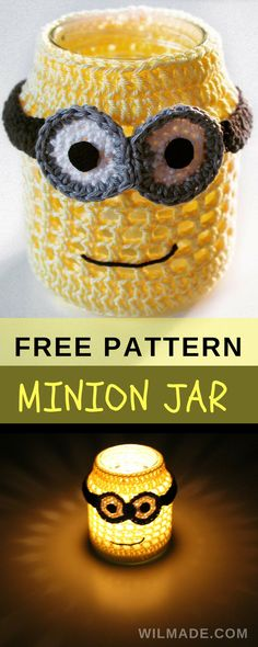 Free crochet pattern to make this minion jar on wilmade.com. Great gift for kids. Looks great with tealight in the dark.
