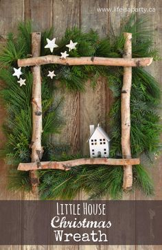 fensterdeko weihnachten Little House Christmas Wreath -full tutorial to make your own wreath from some gathered greens, birch logs, and a coat hanger. Perfect for Christmas. Noel Christmas, Rustic Christmas, Christmas Wreaths, Outdoor Christmas, Canadian Christmas, Christmas 2019, Christmas Lights, Simple Christmas, Christmas Cookies