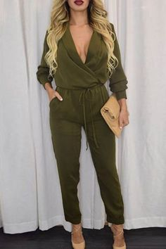 Army+Green+Surplice+V+Neck+High+Waist+Jumpsuit+#Army+#Jumpsuit+#maykool
