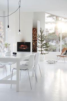 Inspiratie - haard in een witte keuken