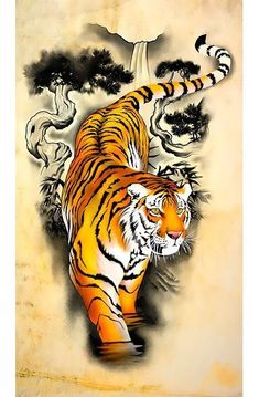Chinese Tiger Sleeve Tattoo Design