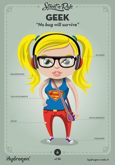 Geek female character by Hydrogen