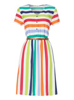 Add a retro pop of colour to your collection with this stripe day dress. Finished with a skinny brown belt and cotton lining, this piece will pair perfectly with brogues for stylish summer looks. Multicoloured stripe day dress Belt included Lined skirt V neck Short sleeve Button down front Model's height is 5'11