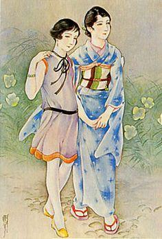 Japan antique art. illustrator / Kasyou Takabatake.   kimono beauty lady. Showa period. 1928.