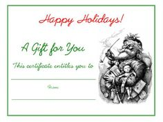 Free blank printable vintage Santa Claus Christmas holiday gift certificate.
