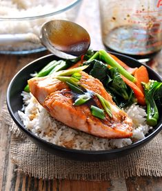 Sweet & Sour Glazed Salmon with Sautéed Carrot & Chinese Broccoli by fussfreecooking #Salmon #Rice #Healthy