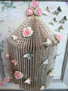 Folded-Book-Art-Vintage-Birdcage-Frame-Butterflies-Choice-Of-Colour-Gift-Idea