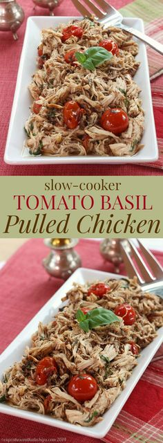 Slow Cooker Tomato Basil Pulled Chicken - a simple, fresh, and healthy dinner recipe from your crock pot. Gluten free, low carb, and paleo. | cupcakesandkalechips.com