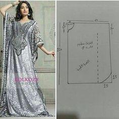 Exotic and elegant. It& a must for any mysterious woman Motif Abaya, Abaya Pattern, Abaya Fashion, Diy Fashion, Fashion Dresses, Moda Fashion, T Dress, Caftan Dress, Diy Clothing