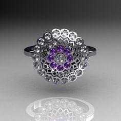Classic+18K+White+Gold+Diamond+Lilac+Amethyst+by+artmasters,+$1349.00